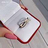 Кольцо Серебро 925 пробы с фианитами + пластины Золота 375 пробы Размеры 14-21, фото 2
