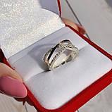 Кольцо Серебро 925 пробы с фианитами + пластины Золота 375 пробы Размеры 14-21, фото 4