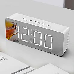 Настольные зеркальные часы в стиле минимал Home comfort 3658L, на батарейках, с термометром