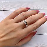 Кольцо Сердце Серебро 925 пробы с фианитом + пластины Золота 375 пробы Размеры 14-21, фото 2