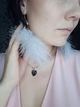 Сережки пір'я ніжні та романтичні кольору рожева пудра, серьги перья, фото 6