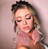 Сережки пір'я ніжні та романтичні кольору рожева пудра, серьги перья, фото 3