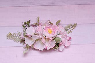 Гребень заколка / украшение для волос в прическу розовый с гортензией и ранункулюсами