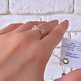 Кільце Кішка Срібло 925 проби з фіанітами + пластини Золота 375 проби Розміри 14-21, фото 4