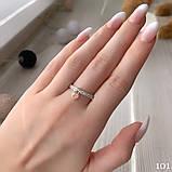 Кольцо Сердце Серебро 925 пробы с фианитами + пластины Золота 375 пробы Размеры 14-21, фото 2