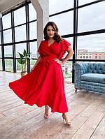 Женское платье в пол батал, Платье на запах больших размеров, Платье летнее большого размера красное