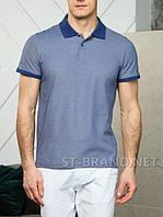 Размеры:48-56. Мужская футболка Поло, 100% хлопок, тенниска с воротником - синяя (джинс)