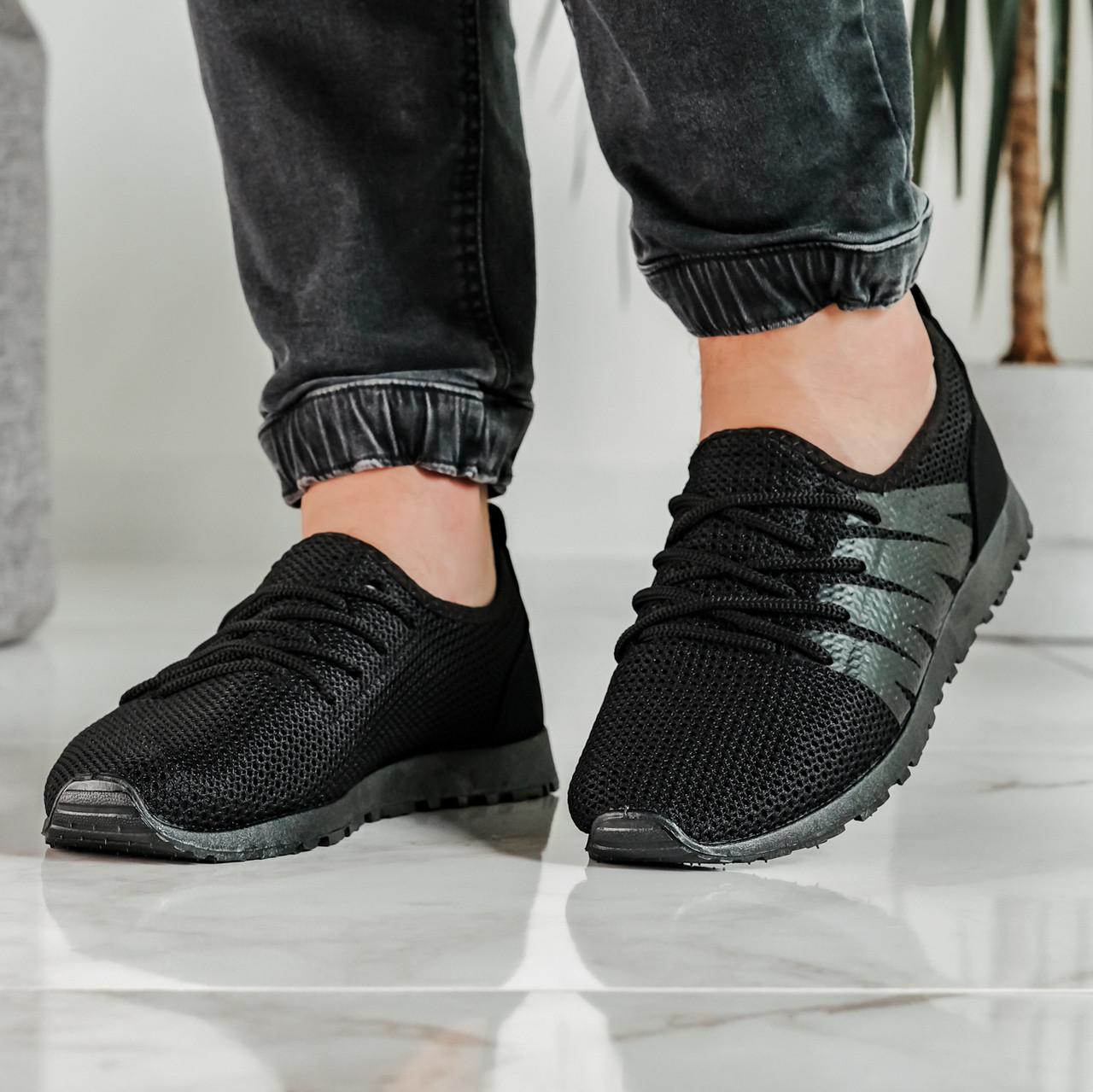 Літні чоловічі кросівки чорні сітка (ПР-3304ч)