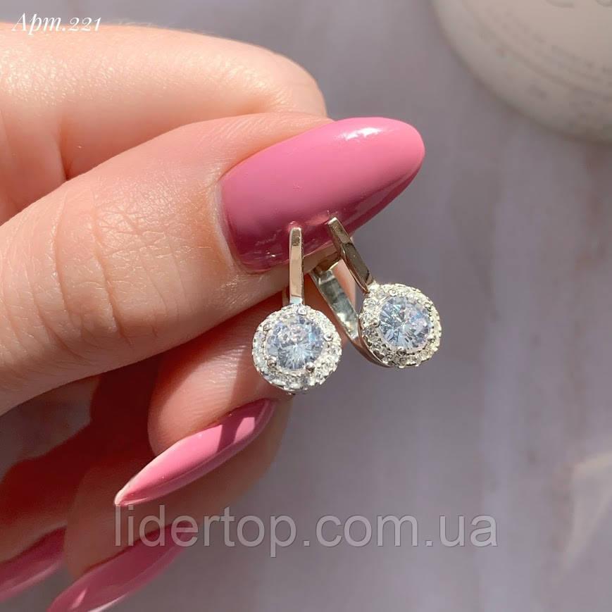 Сережки Срібло 925 проби з фіанітами + пластини Золота 375 проби Розміри 14-21