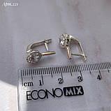 Сережки Срібло 925 проби з фіанітами + пластини Золота 375 проби Розміри 14-21, фото 2
