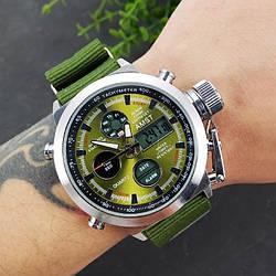 Армійські годинник AMST 3003 Black-Green Тактичні Протиударний наручні Амст Чоловічі Військові ААА СПОРТ