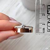 Кольцо Серебро 925 пробы с фианитами + пластины Золота 375 пробы Размеры 14-21, фото 3