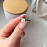 Кільце Срібло 925 проби з фіанітами + пластини Золота 375 проби Розміри 14-21, фото 4
