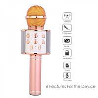 Микрофон Караоке с динамиком WSTER WS-858 розовый