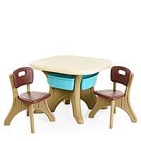 Детский пластиковый столик с 2 стульчиками 4 выдвижных ящика бежевый с голубыми ящиками