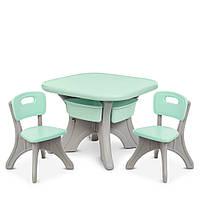 Детский пластиковый столик с 2 стульчиками 4 выдвижных ящика цвет мятный
