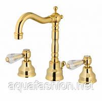 Золотой смеситель для умывальника на 3 отверстия Bugnatese Revival Uni 412