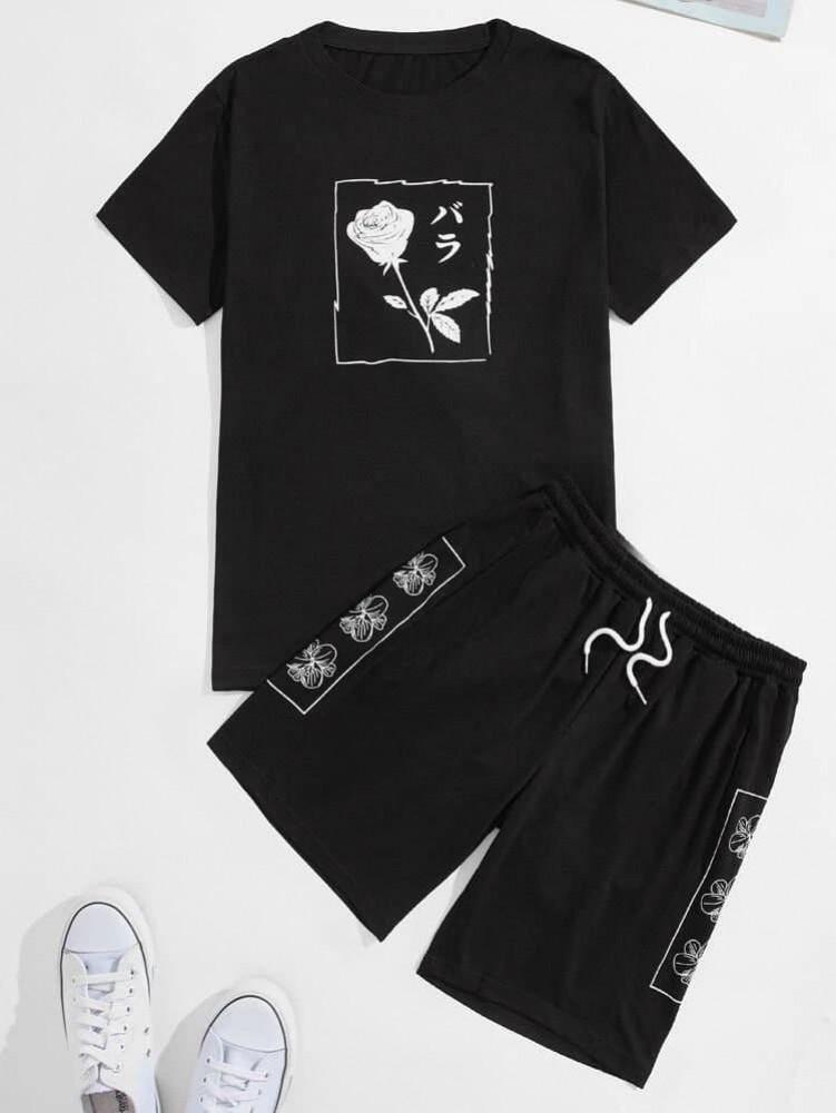 Комплект шорти+футболка Rose black 266