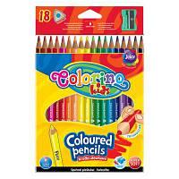Карандаши цветные треугольные и точилка 18 цветов Colorino 57431PTR, КОД: 2447033