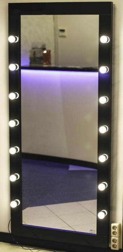 Гримерное дзеркало Безрамне в повний зріст на підставці з підсвічуванням (без ламп) 180*80 см