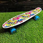 Скейтборд пенни борд со светящимися колесами с рисунком пенні борд пенниборд пениборд граффити