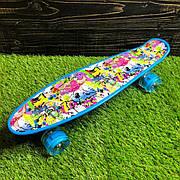 Скейтборд пенни борд со светящимися колесами с рисунком пенні борд пенниборд пениборд граффити синий