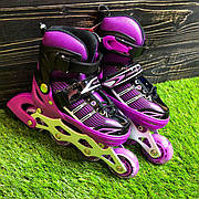 Детские ролики раздвижные Profi Roller для детей девочки роликовые коньки ролики размер 30 31 32 33 фиолетовые