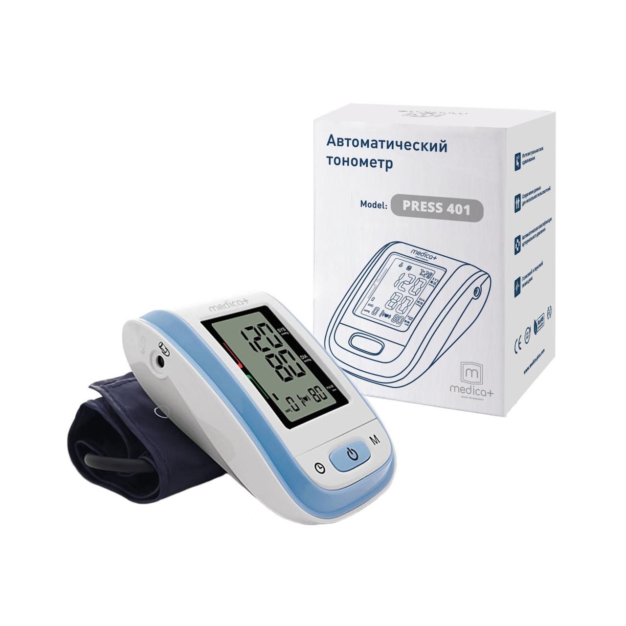 АВТОМАТИЧНИЙ ТОНОМЕТР MEDICA+ PRESS 401 BL З МАНЖЕТОЮ (ЯПОНІЯ) тест серцевої аритмії