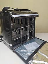 Термосумка для доставки еды, пиццы, суши с перегородками. Рюкзак для доставки суши, еды с перегородками. ПВХ