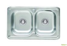 Мойка 7848D, врезная Прямоугольная 780х480х180 Сатин 0,8 см (с отверстием под смеситель) Platinum
