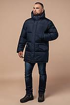 Комфортная куртка зимняя мужская тёмно-синяя модель 27055, фото 2