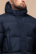 Комфортная куртка зимняя мужская тёмно-синяя модель 27055, фото 3