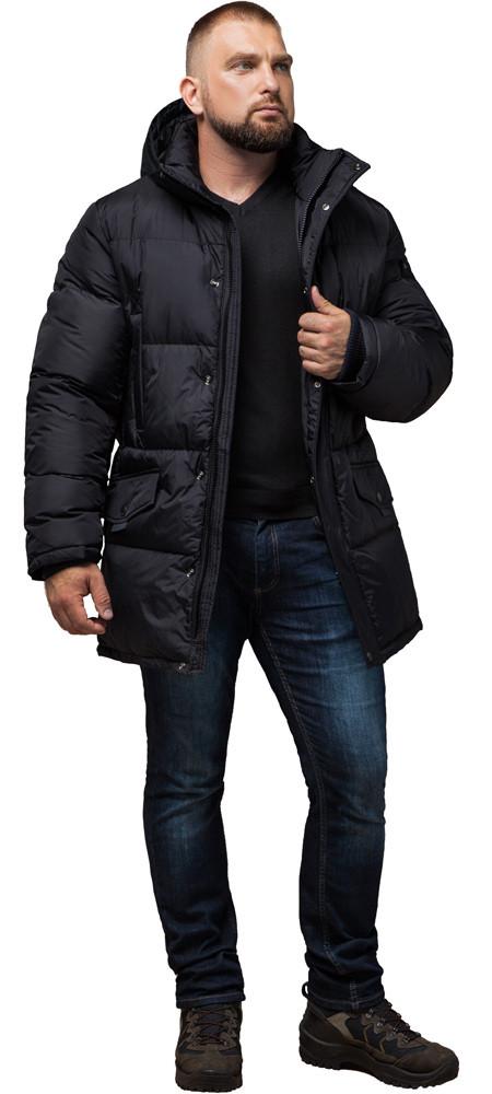 Трендова чоловіча зимова куртка чорна модель 27055