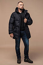 Трендовая мужская зимняя куртка чёрная модель 27055, фото 2