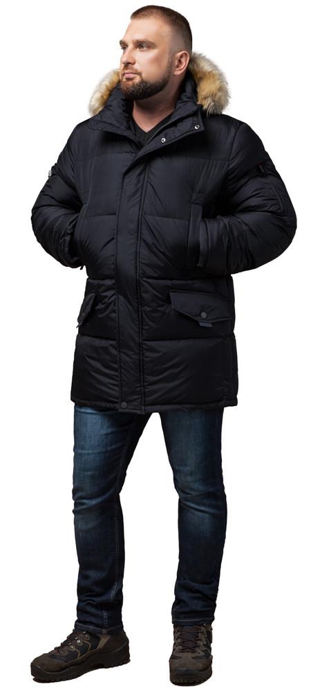 Комфортна чоловіча зимова куртка чорна модель 10055