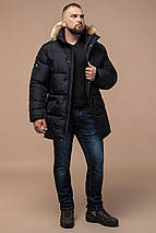 Комфортная куртка мужская зимняя чёрная модель 10055, фото 3