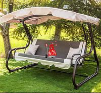 Садовые подвесные раскладные трехместные качели с навесом Лацио Gray 180 для отдыха, качели для дачи