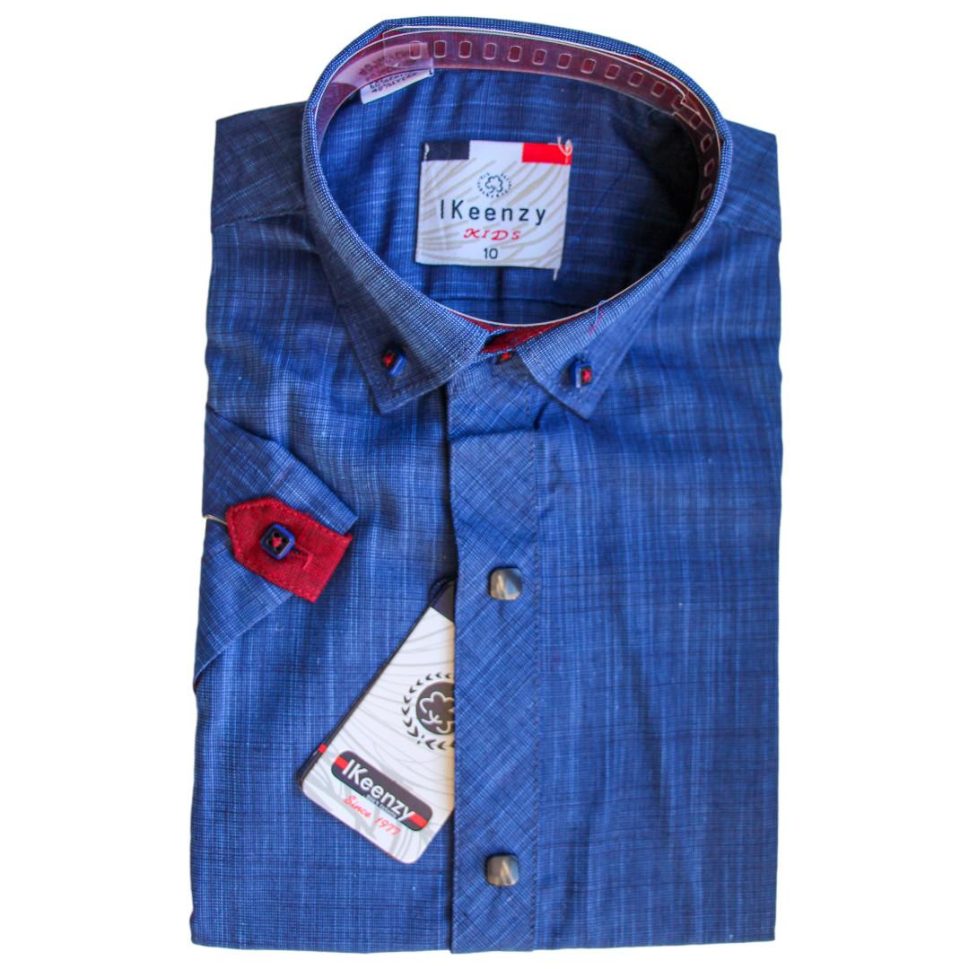 Сорочка з коротким рукавом приталена для хлопчика 116-152 зросту синя
