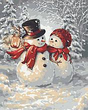 Картина по номерам любовь снеговики 40х50 Теплые обьятия