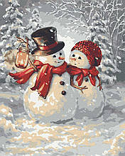 Картина за номерами любовь сніговики 40х50 Теплі обійми