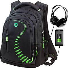 Рюкзак школьный ортопедический с USB переходником подростковый для мальчика черно-зеленый Winner One 395-7