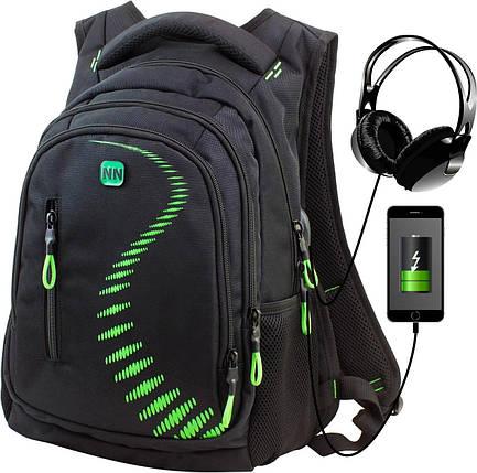 Рюкзак школьный ортопедический с USB переходником подростковый для мальчика черно-зеленый Winner One 395-7, фото 2
