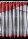 Тюль штора на кухню Белая с красной отделкой 160*295 код тж-5