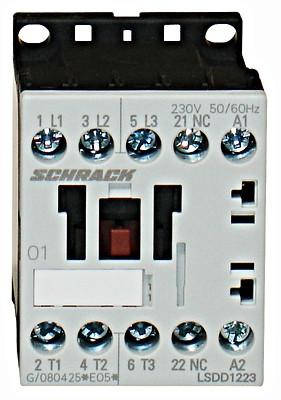 Контактор LSDD  3P 12А 5.5кВт 24В DC 1НЗ разм.00 Schrack