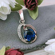 Серебряный кулон с синим камнем и золотом