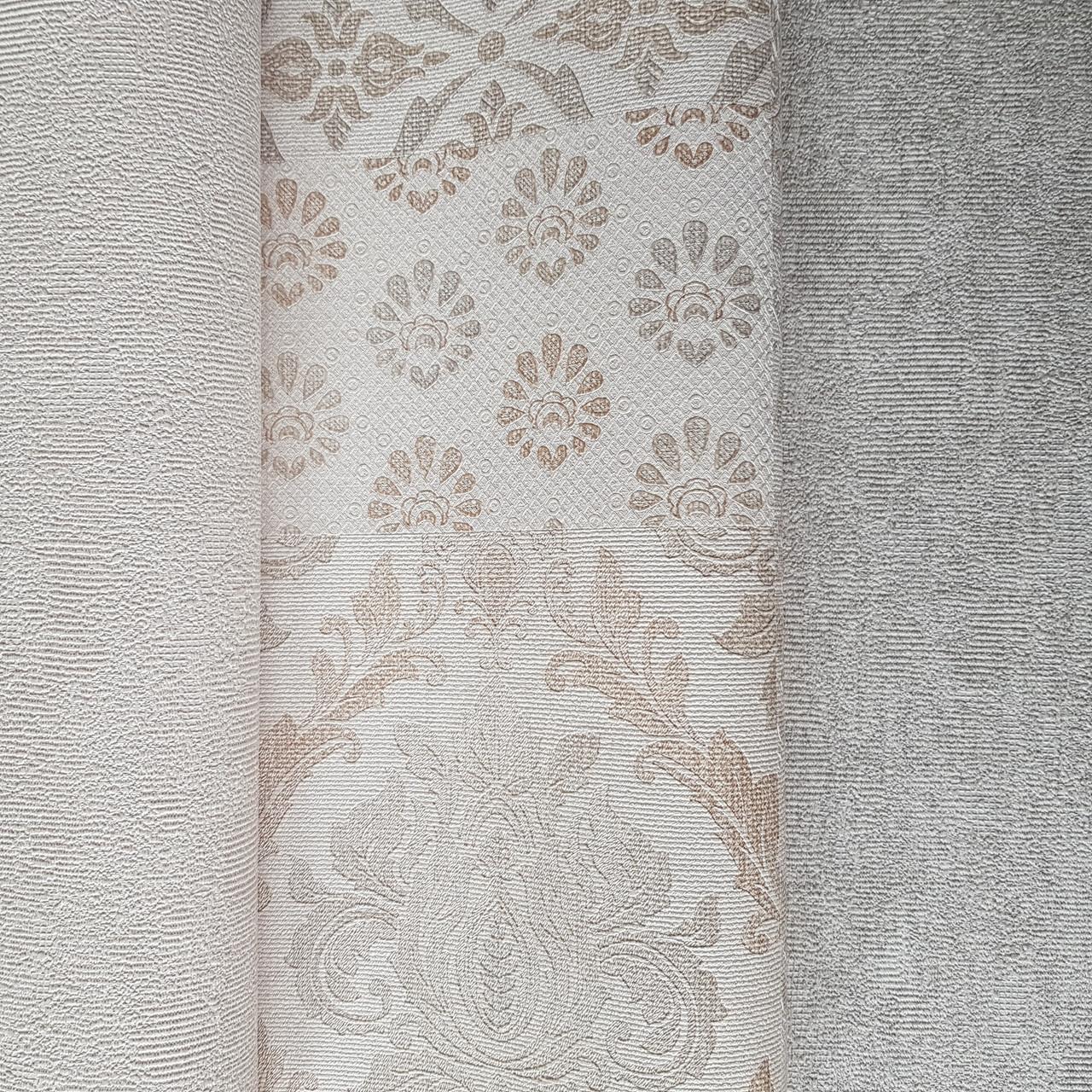 Шпалери метрові вінілові на флізелін Yuanlong Samsara східний стиль під килим бежеві срібло на білому 3д
