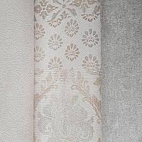 Шпалери метрові вінілові на флізелін Yuanlong Samsara східний стиль під килим бежеві срібло на білому 3д, фото 1