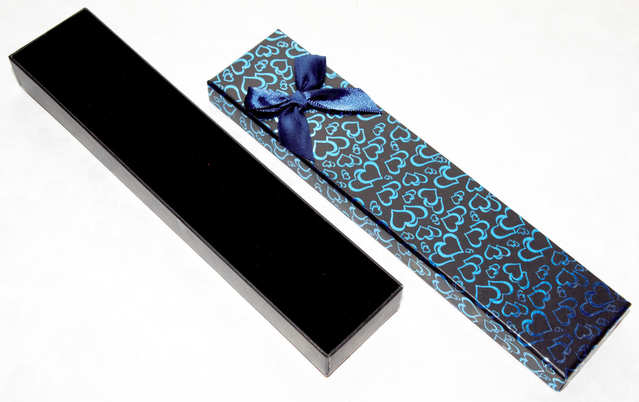 Коробка подарочная длинная для браслетов для часов черная с рисунком сердце День Валентина 20x4x2 см, фото 1