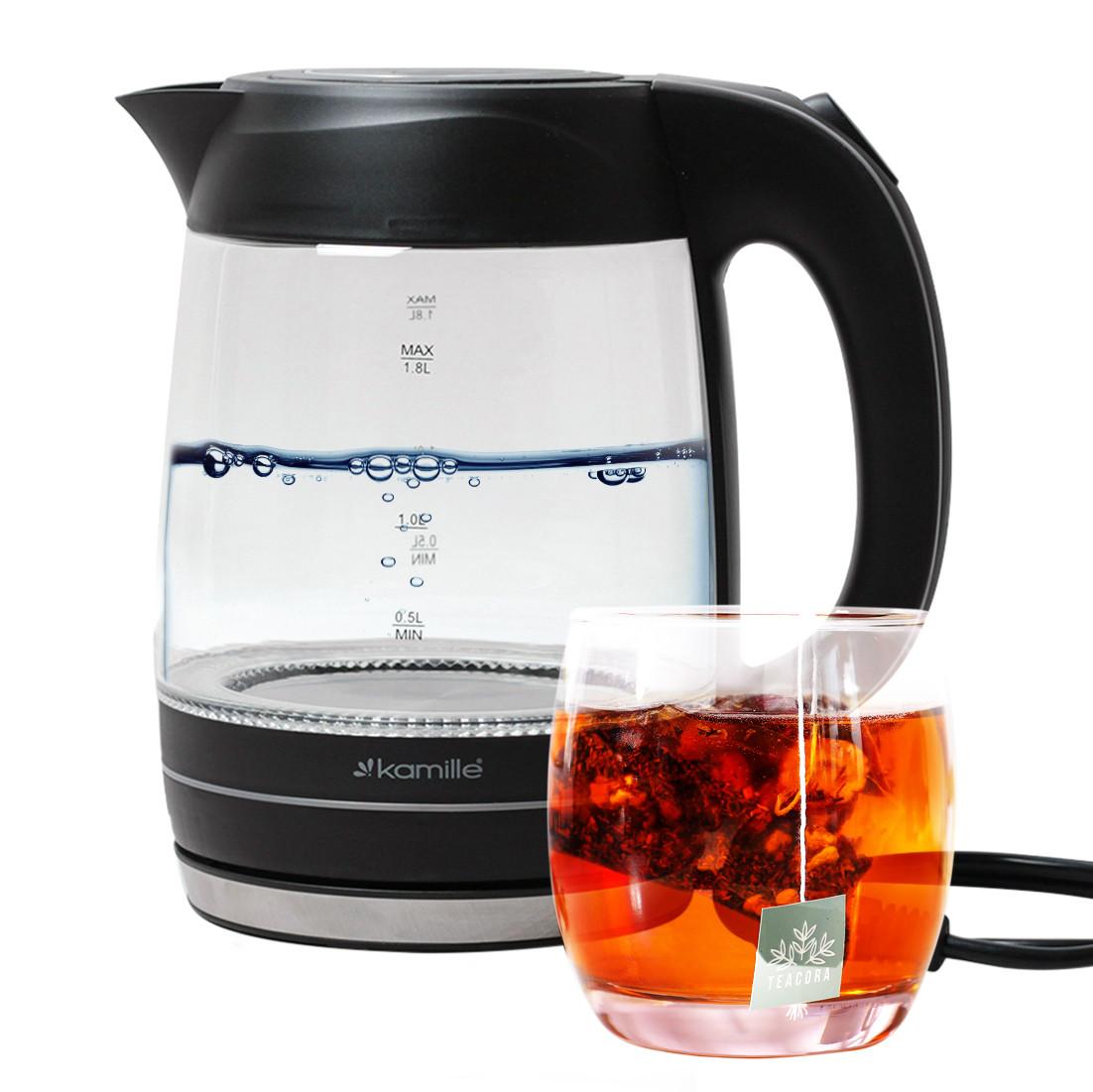 Чайник электрический Kamille 1.8л с синей LED подсветкой KM-1703B