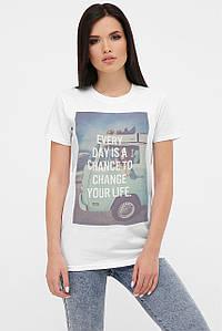 Удлиненная женская белая футболка с принтом (fup)